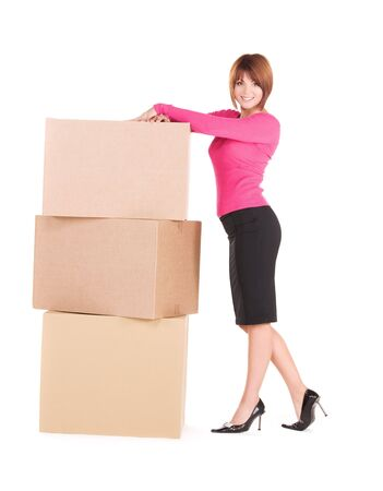 picture of businesswoman with boxes over white Stock Photo - 6510133