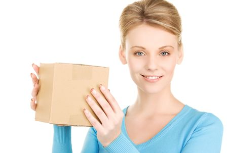 picture of businesswoman with parcel over white photo