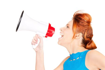 picture of redhead woman with megaphone over white Stock Photo - 6525719