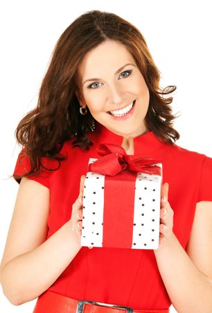 fancy sweet box: happy woman with gift box over white