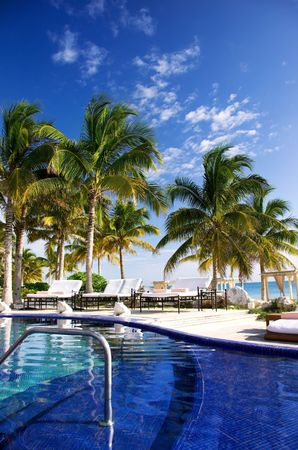 hotel lounge: picture of beautiful caribbean tropical resort Stock Photo