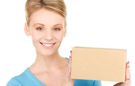 package shipment: picture of businesswoman with parcel over white