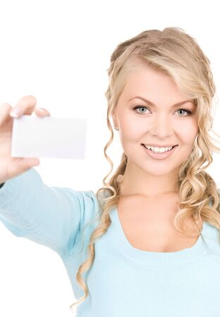 notecard: happy girl with business card over white