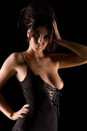 dark picture of sexy woman in black dress Stock Photo - 6571106