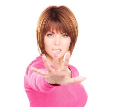 bright picture of businesswoman making stop gesture Stock Photo - 6571240