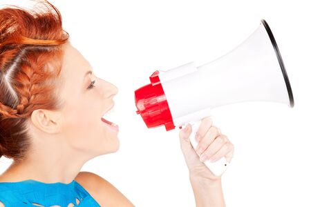 picture of redhead woman with megaphone over white Stock Photo - 6609843