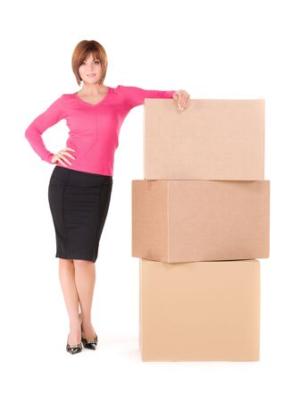 picture of businesswoman with boxes over white photo
