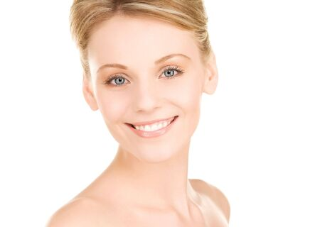 bright picture of lovely woman over white Stock Photo - 6609983