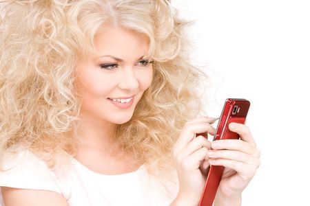 picture of happy woman with cell phone photo