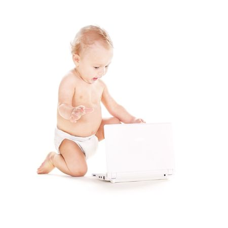 picture of baby boy in diaper with laptop computer photo