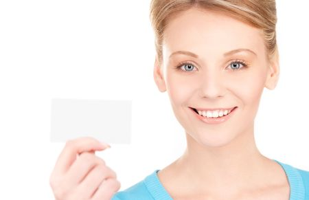 happy girl with business card over white Stock Photo - 6681738