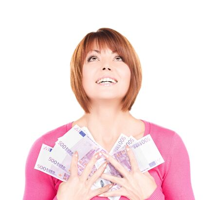 picture of happy woman with money over white Stock Photo - 6681780