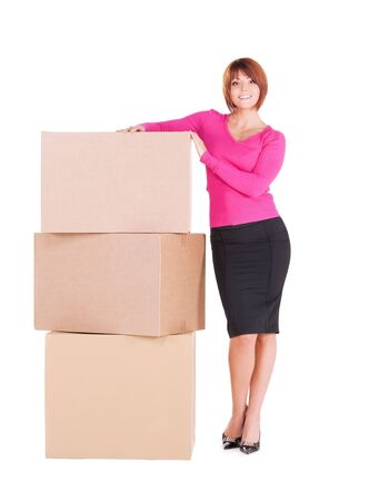 picture of businesswoman with boxes over white Stock Photo - 6681724