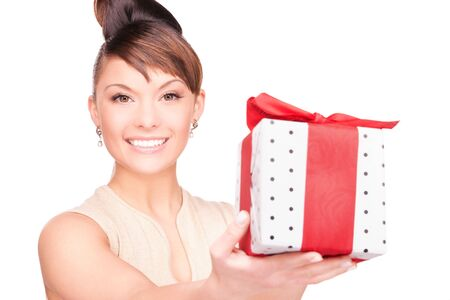 happy woman with gift box over white photo
