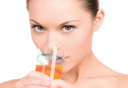 bright picture of lovely woman with glass of juice Stock Photo - 6681709