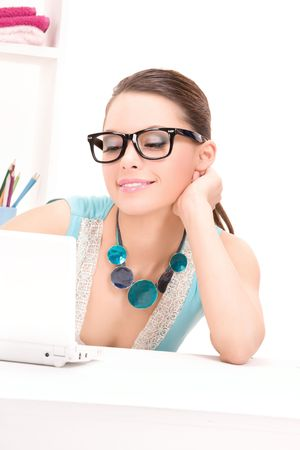 picture of lovely woman with laptop computer photo
