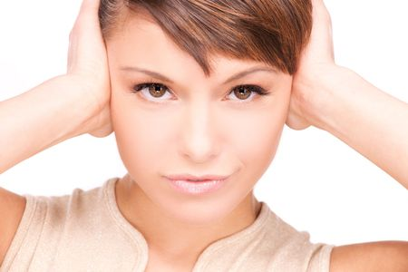 picture of unhappy woman with hands on ears Stock Photo - 6681705