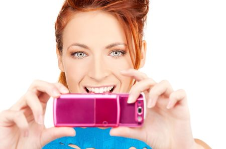 picture of happy woman using phone camera Stock Photo - 6681742