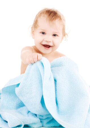 picture of baby boy with blue towel over white Stock Photo - 6710158