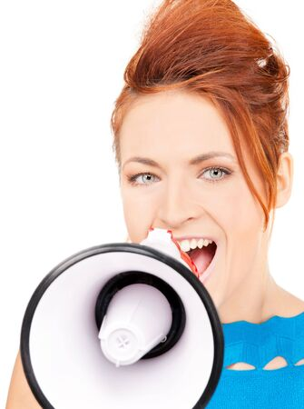 picture of redhead woman with megaphone over white Stock Photo - 6710198