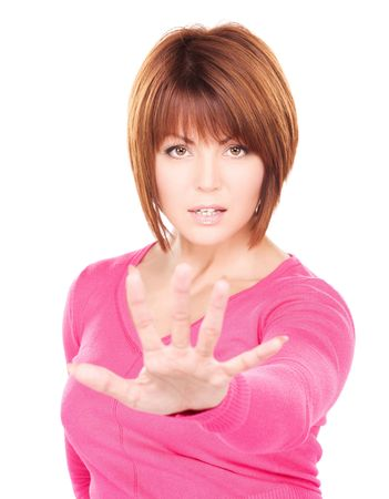 bright picture of businesswoman making stop gesture Stock Photo - 6710216