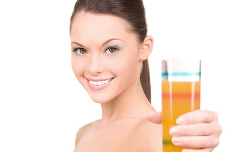 bright picture of lovely woman with glass of juice photo