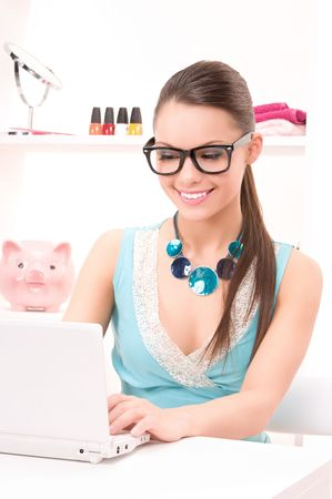 picture of lovely woman with laptop computer