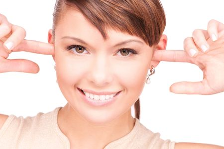 picture of smiling woman with fingers in ears Stock Photo - 6710277