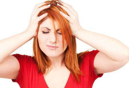 picture of unhappy redhead woman over white Stock Photo - 6710319
