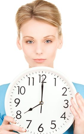 picture of woman holding big clock over white photo
