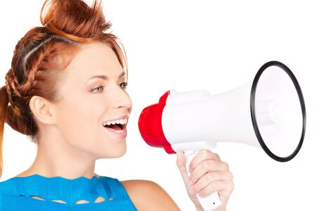 picture of redhead woman with megaphone over white photo