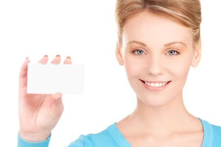 happy girl with business card over white Stock Photo - 6730921