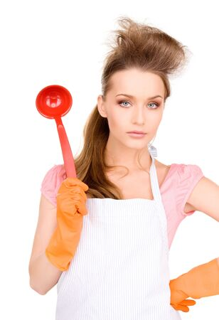 picture of beautiful housewife with red ladle Stock Photo - 6730995