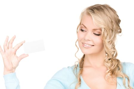 happy girl with business card over white Stock Photo - 6730923