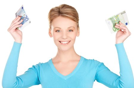 picture of lovely woman with money in hands photo