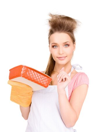 picture of beautiful cooking housewife over white Stock Photo - 6760534