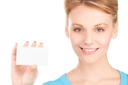 happy girl with business card over white Stock Photo - 6760546