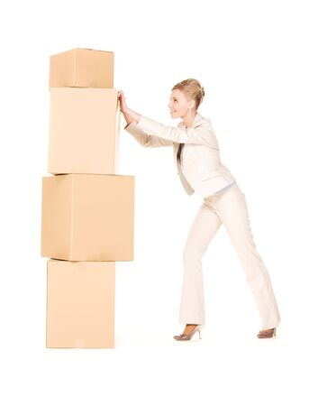 picture of businesswoman with boxes over white Stock Photo - 6760572
