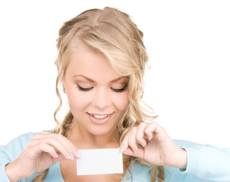 happy girl with business card over white Stock Photo - 6760644
