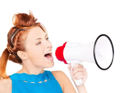 picture of redhead woman with megaphone over white Stock Photo - 6760658