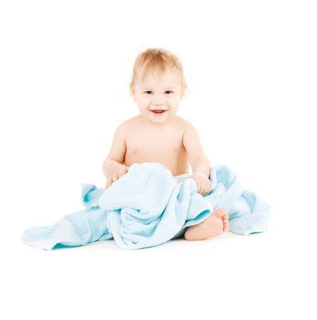 BUEN VIVIR: Foto de beb� con pa�o azul sobre blanco Foto de archivo