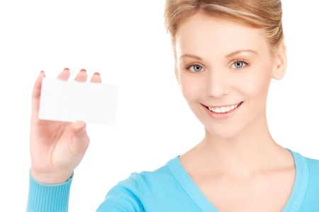 happy girl with business card over white Stock Photo - 6760667