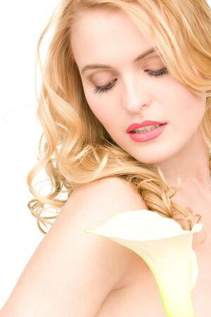 picture of beautiful woman with white flower Stock Photo - 6805600