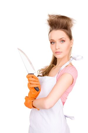 picture of beautiful housewife with big knife photo