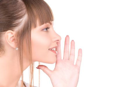 bright picture of young woman whispering gossip Stock Photo - 6805671
