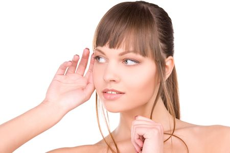 bright picture of young woman listening gossip Stock Photo - 6805683