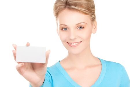 happy girl with business card over white Stock Photo - 6805787