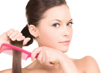 bright picture of beautiful woman with comb Stock Photo - 6805830