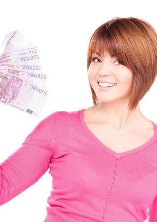 picture of happy woman with money over white Stock Photo - 6805794