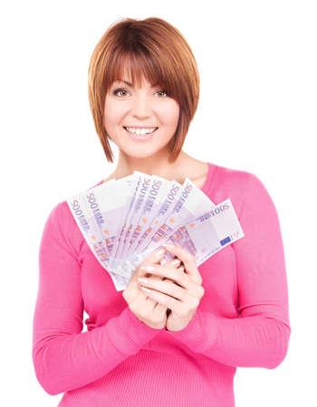 soldi euro: immagine di donna felice con denaro over white  Archivio Fotografico